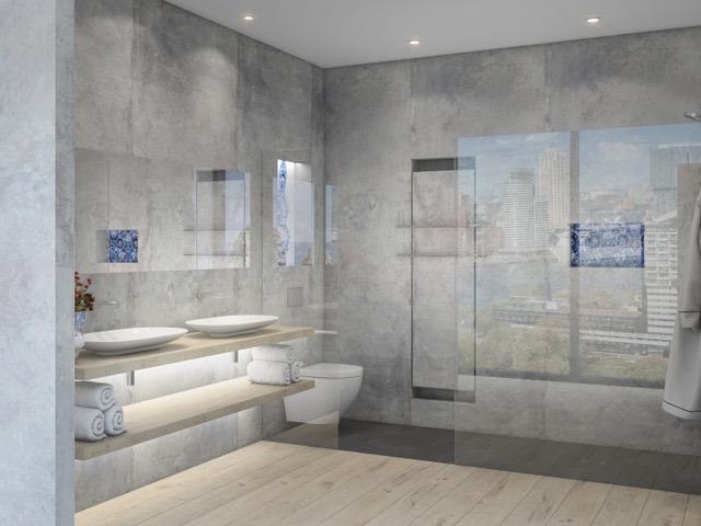 Duurzame badkamer - douche - Delftsblauw