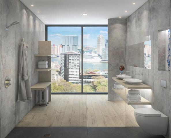 Duurzame badkamer - raam - Delffsblauw