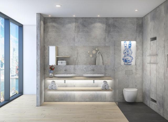Duurzame badkamer - wastafelmeubel - Delftsblauw